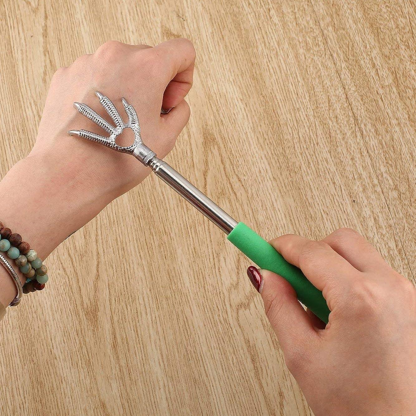 苗液体救援Compact Telescopic Claw Stainless Steel Massager Back Scratcher 22-58cm Adjustable Back Scratching Massage Hand Claw