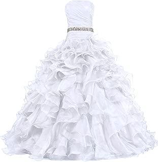 Women's Pretty Ball Gown Quinceanera Dress Ruffle Prom Dresses