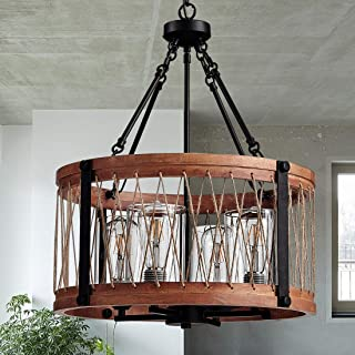 TZOE Wood Chandelier,Farmhouse Lighting,Red Wooden Drum 4-Light Pendant Light,Round Foyer Lighting,Rustic Industrial Chandeliers for Dining Rooms, 18.1 Inch Diameter