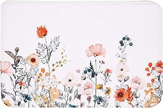 LIVILAN Orange Pink Flowers Bath Rug, Thick Soft Memory Foam Non Slip Green Leaf Bath Mat, Floral Bathroom Decor Rug Shagg...