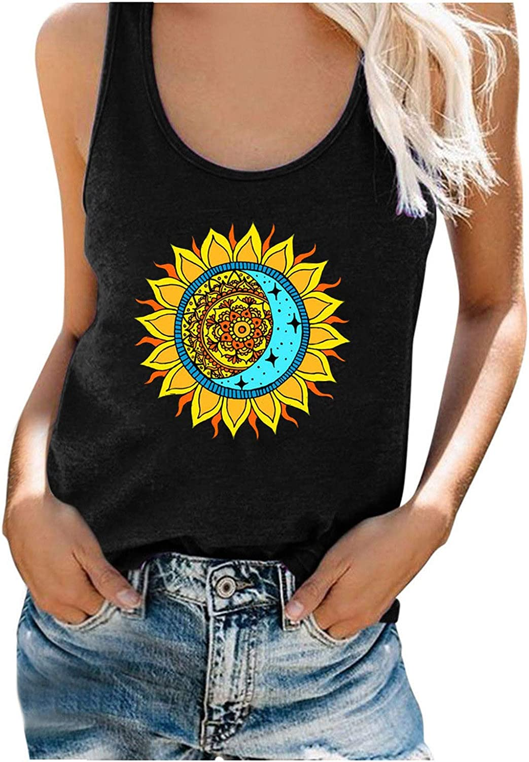 Women's Sleeveless Shirts Summer Workout Tops Moon and Sun Graphic Print Tee Shirts Crew Neck Cami Vest Blouse for Women