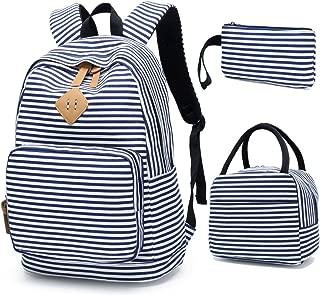 BLUBOON School Backpack for Girls Canvas Bookbag College Laptop Rucksack Women Ladies Travel Daypack Lunch Box Bag Pencil Case
