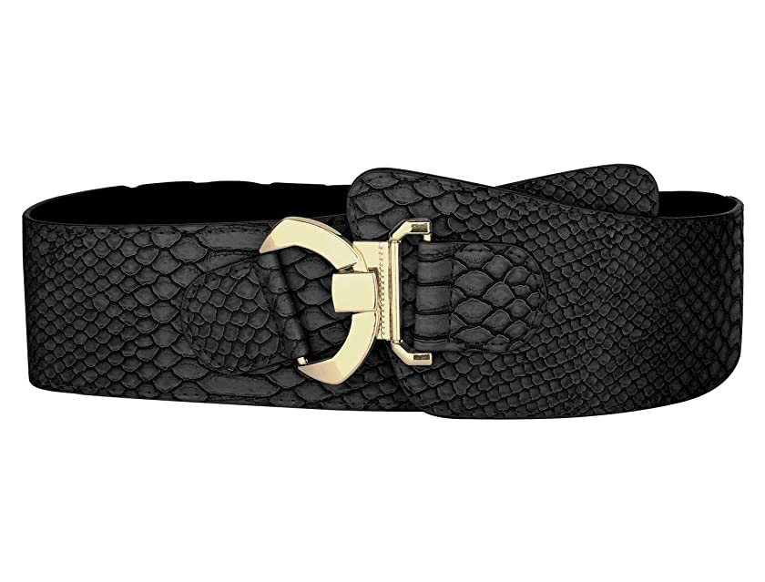 uxcell Elastic High Waist Stretchy Slanted Wide Leather Belt Waist Belt for Women