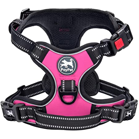 PoyPet No Pull Dog Harness, No Choke Front Lead Dog Reflective Harness, Adjustable Soft Padded Pet Vest with Easy Control Handle for Small to Large Dogs