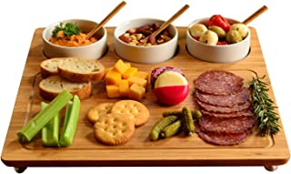 Picnic at Ascot Bamboo Cheese Board/Charcuterie Platter - Includes 3 Ceramic Bowls with Bamboo Spoons - 13