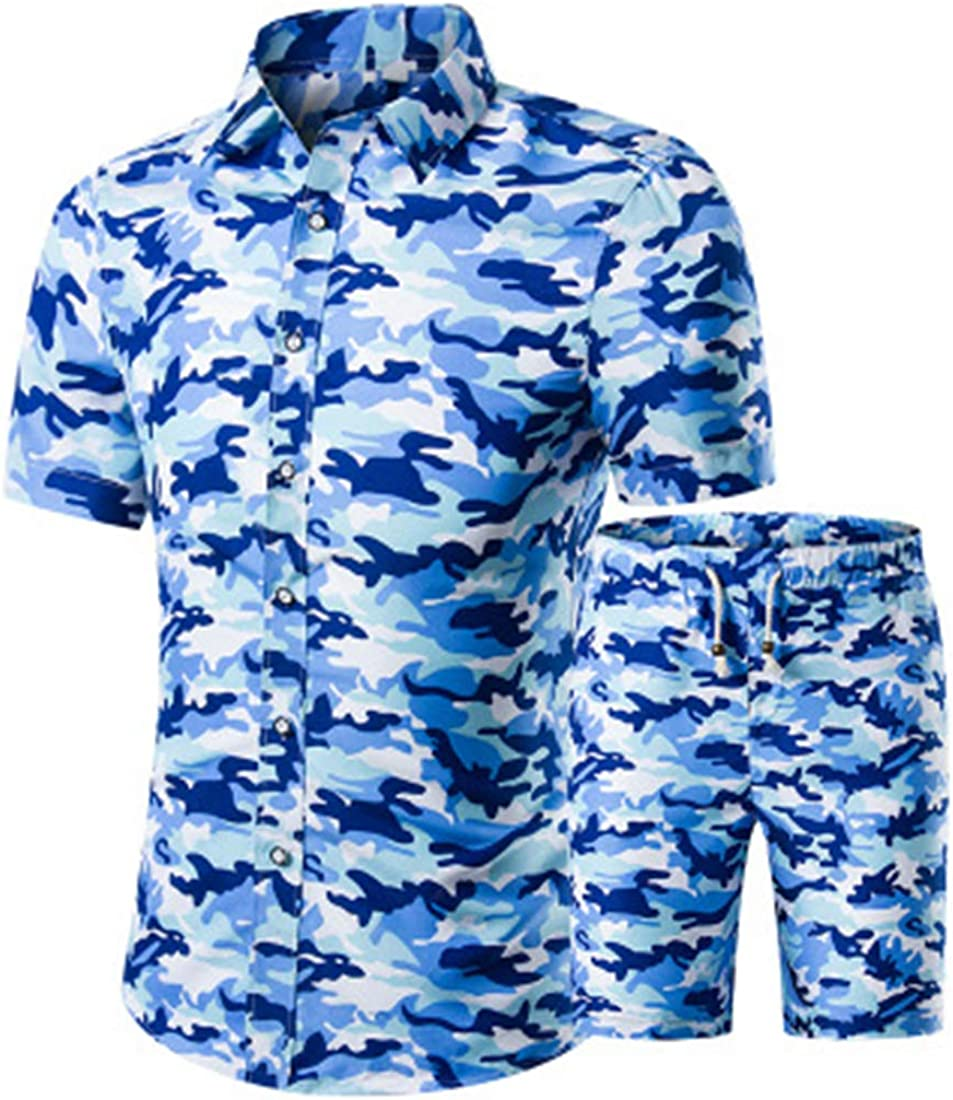 ZYYM Mens Flowers Casual Hawaiian Shirt and Short Suits Mens Short-Sleeved-Suit Two-Piece Summer Fitness Camouflage Sportswear Camouflage Printing Short Sleeve Top Tracksuit Casual Sports Sets