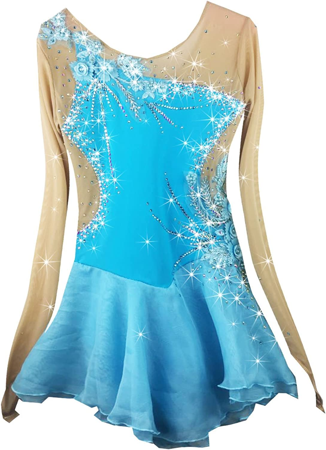 Heart&M Hand Painted Ice Skating Dress For Grils, Handmade Figure Skating Competition Costume Long Sleeved Skating Dress Light bluee