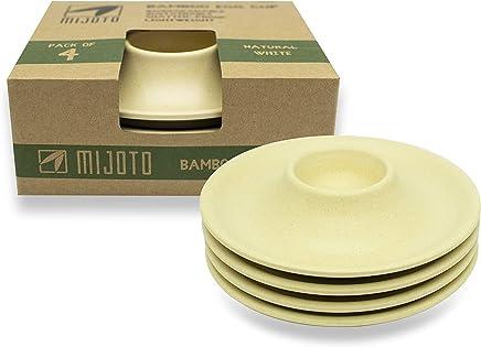 Preisvergleich für MIJOTO Bambus Eierbecher 4er Set - Nachhaltiges Geschirr aus Bambus und Maisstärke - Biologisch Abbaubar - Weiß/Natur