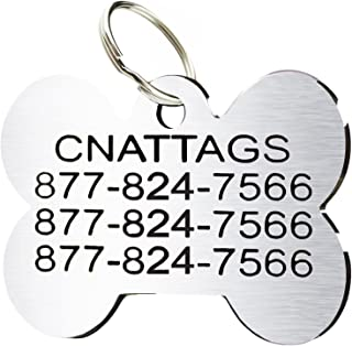CNATTAGS Stainless Steel Pet ID Tags Personalized Various Shapes Front and Back Engraving