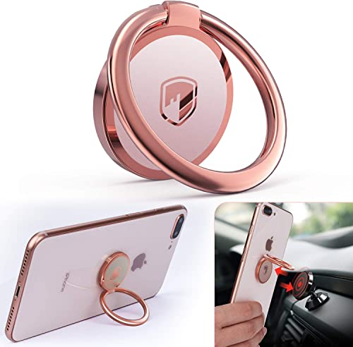 Phone Ring Holder Finger Kickstand - FITFORT 360° Rotation Metal Ring Phone Stand & Grip for Magnetic Car Mount Compa...