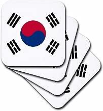 3dRose CST_158435_1 Flag of South Korea Korean White Red Blue Taegeuk Circle Black Trigrams Taiji Yinyang Taegeukgi Soft Coasters, Set of 4