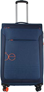 "Cloe- Maleta 28"" Grande Color Azul Marino Con Ruedas Naranjas, Material Ligero"