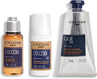 L'Occitane Men's Travel Kit, 3 Piece Gift Set for Father's Day, Shower Gel, Deodorant, After Shave Balm