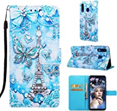 Voanice Galaxy A20 Case,A30 Case, PU Leather Wallet Flip Phone Cover with Card Holder Slots Kickstand Wrist Strap Magnetic Full Body Protective Girls Women for Samsung Galaxy A20/A30 -Butterfly/Tower