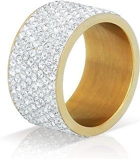 BLINGMC 12MM واسعة 8 صفوف مثلج خارج الحلقات الفولاذ المقاوم للصدأ الهيب هوب مجوهرات للرجال النساء