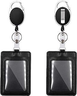 Mczcent 2 Porte Badge avec Yoyo et Cordon a Deux Façons de Porter, Verticale ID Card Badge Holder Porte-badge D'identifica...