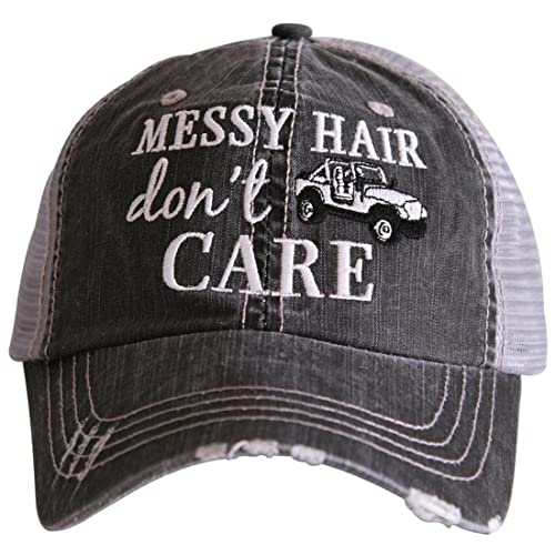 f4a72376d16 Katydid Messy Hair Don t Care Women s Distressed Grey Trucker Hat