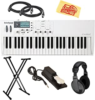 Waldorf Blofeld Keyboard Synthesizer - White Bundle with Adjustable Stand, Sustain Pedal, Headphones, MIDI Cables, and Austin Bazaar Polishing Cloth