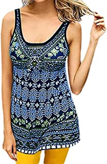 FSSE Womens Digital Print Slim Fit Sleeveless Summer Tank Top Cami Blouse Shirt