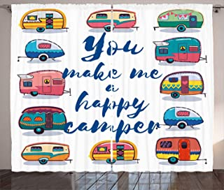 Ambesonne Camper Curtains, You Make Me Happy Camper Motivational Quote with Caravans Retro Style Travel Graphic, Living Room Bedroom Window Drapes 2 Panel Set, 108W X 108L inches, Multi
