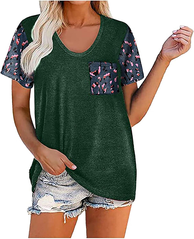 Women's 5 ☆ very popular Color Block Splice T Max 78% OFF Shirt Short Sleeve Casual Sh O-Neck