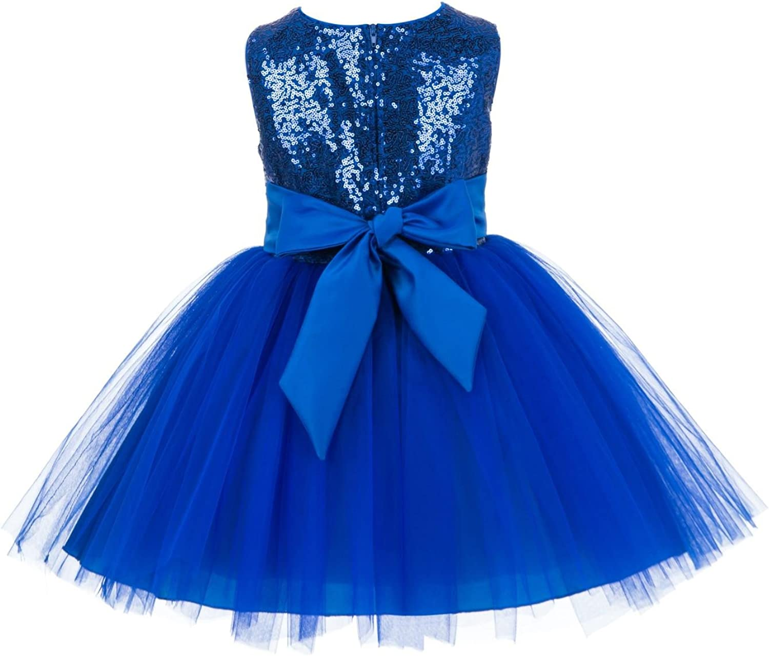 Wedding Pageant Sparkling Sequins Mesh Flower Girl Dress Tulle Toddler Holiday Gown Occasions 124