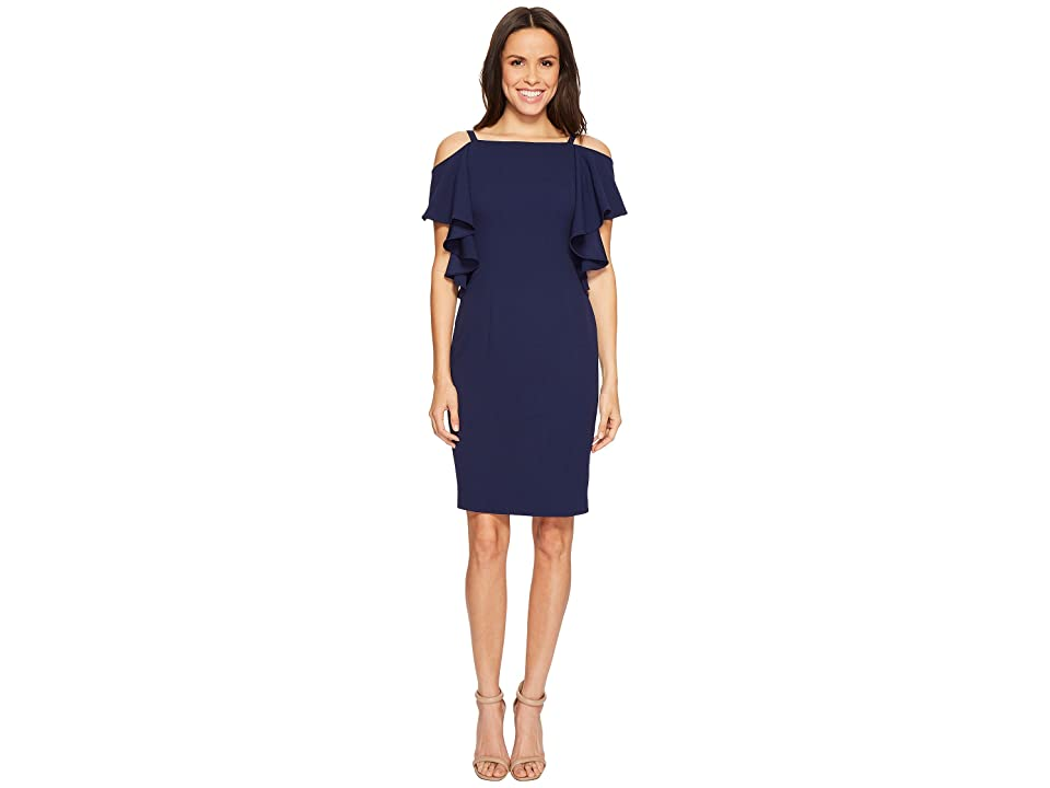 Adrianna Papell Knit Crepe Fluttr Cold Shoulder Sheath (Navy Sateen) Women