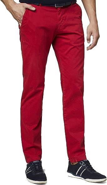 Bugatti Pantalones chinos para hombre Flatfront rojo suave algodón Modern Fit (art. n.: 4819GD-26226-950)