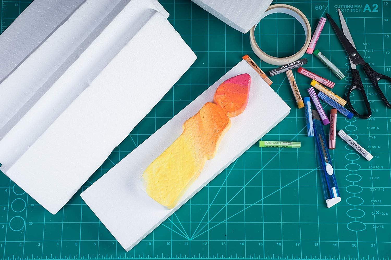 Blumenarrangement Bastelprojekt 12 x 6 x 2 Inches wei/ß Craft Foam Block Modellierung Wei/ß 6 Pack f/ür Skulpturen Kinder-Klasse rechteckiger Polystyrol-Schaum