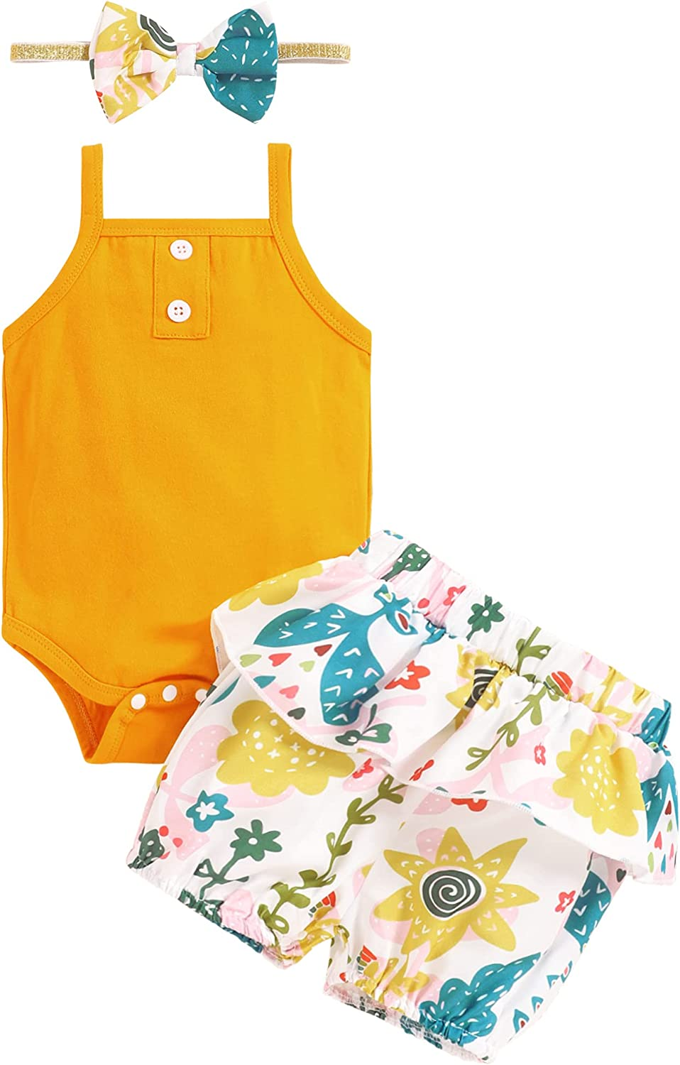 Newborn Baby Girl Clothes Outfits Romper Bodysuit Suspenders Sleeveless Tops Floral Ruffle Shorts Summer Set with Headband