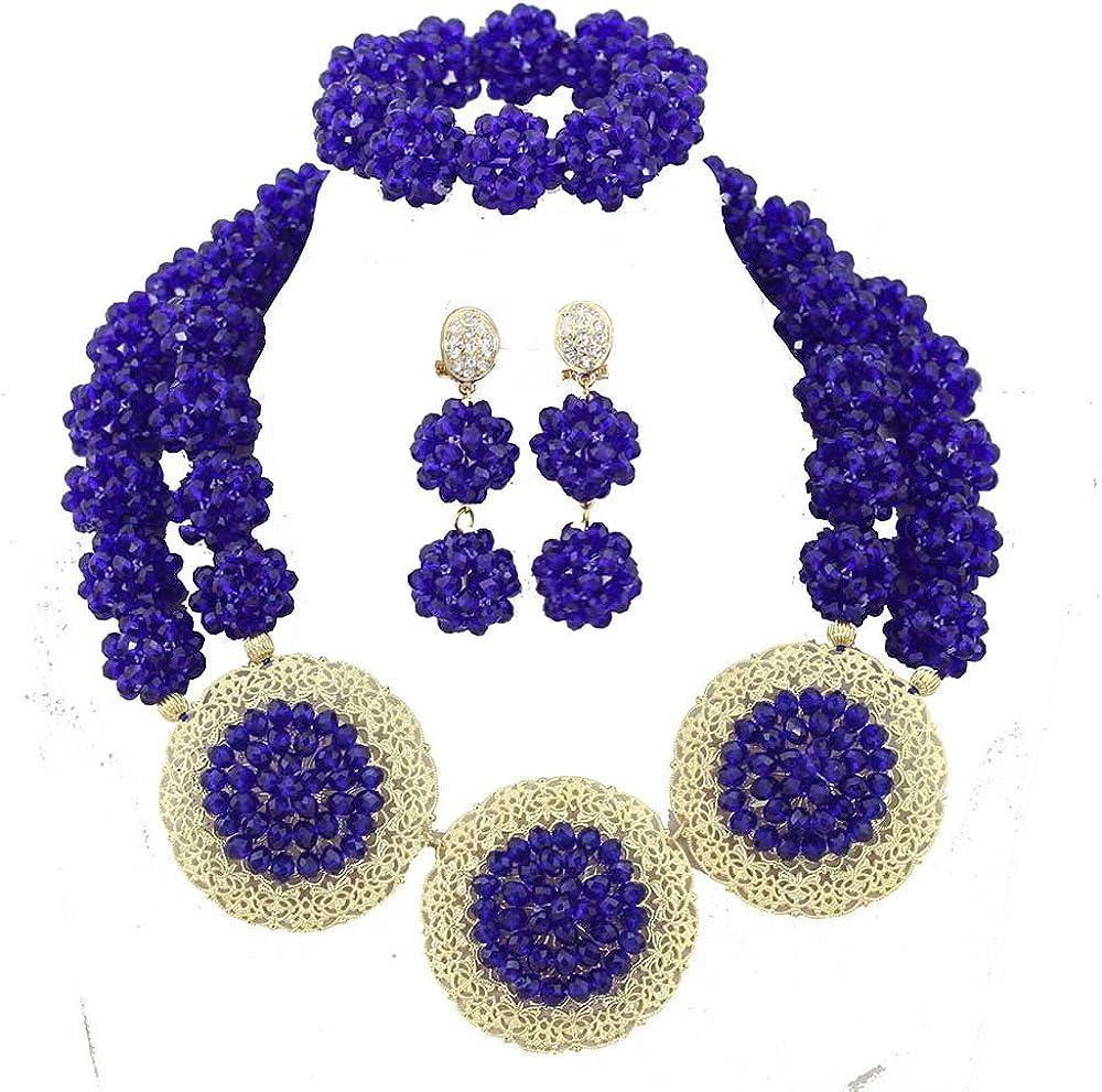 Africanbeads 2 Rows Crysatl Ball African Beads Jewelry Set,Nigerian Bridal Jewelry Set,African Wedding Jewelry Set