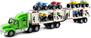 ATV Superior Trailer Children's Kid's Friction Toy Truck Ready To Run w/ 8 Toy ATVs, No Batteries Required (Colors May Vary)