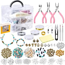 PP OPOUNT Jewelry Making Supplies with Instructions Includes 19 Styles Beads, 8 Styles Findings, Pliers, Cutters, Tweezers, Bead Wire, Storage Case, Charms for Jewelry Necklace Bracelet Making Repair