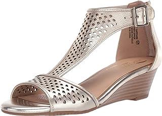 Aerosoles Women's Sapphire Wedge Sandal, Gold Leather, 7.5 W US