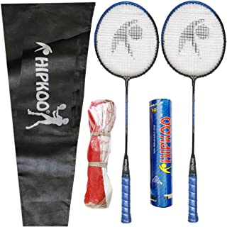 Hipkoo Entire Badminton Kit (2 Racket, Pack of 10 Shuttlecocks and Net) Badminton Kit