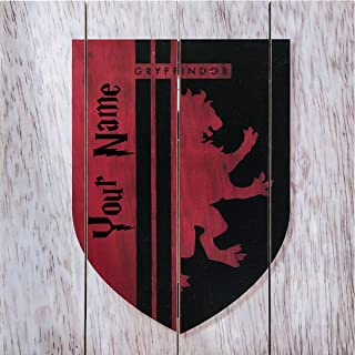 HARRY POTTER Personalized Hogwarts Gryffindor Crest Wood Wall Decor Decoration Sign with Free Name Personalization - 10 inches x 10 inches