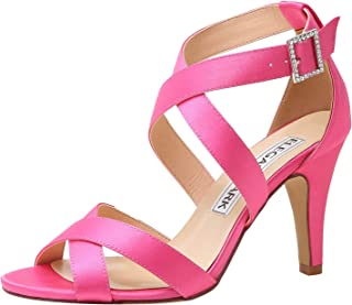 ElegantPark Women High Heel Shoes Open Toe Cross Strap Satin Wedding Dress Sandals