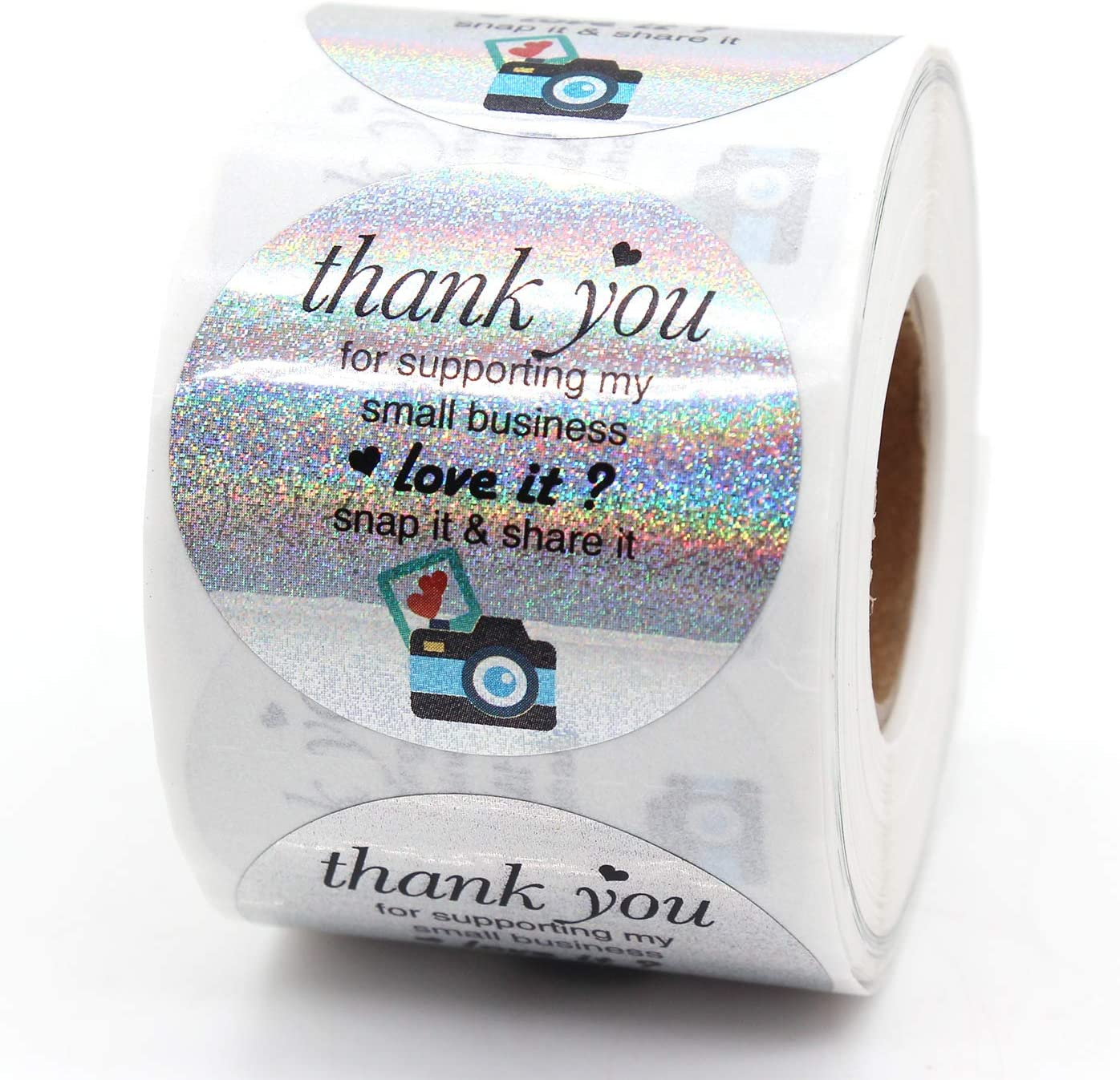 Muminglong1.5 Inch Thank You Camera Share It Stickers, Review Reminder Sticker, Small Shop Sticker, Small Business, 500PCS
