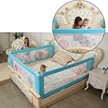 Safe-O-Kid - 2 Large (1.8 mtr) Safest ( Extra thick, Best ABS material, 300 D) Premium Bedrails, Fit-All, Easy to Install, 8 Adjustable Points, One-Hand Operate, Washable Bed Rails - Full Bed Size (6 ft)- Pack of 2, Blue