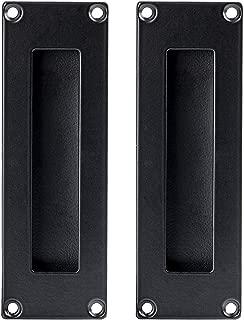 Flush Pull Handle 2 Pack, Black Stainless Steel - Barn Door Handles for Sliding Closet, Cabinet or Pocket Doors