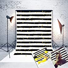 5ft(W) x7(H) Mother's Day Backgrounds Black and White Stripes Gold Dots Microfiber Wedding Photo Backdrop Studio Props