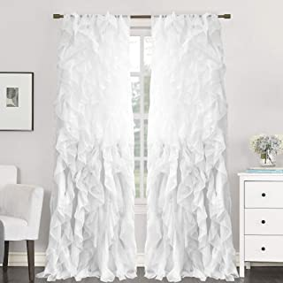 Sweet Home Collection 2 Pack Window Panel Sheer Voile Vertical Ruffled Waterfall Curtains, 108