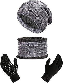 ANJUREN Hat Beanie Scarf Scarves Gloves Adult Women Men Winter Warm Snow Skull Cap Combo Touch Glove Mittens Knitted