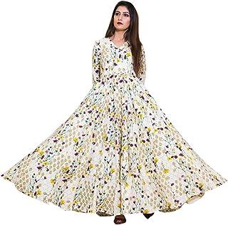 Indian Pure Maslin Digital Print Maxi style Long Kurta Kurti Formal Casual wear Women Girl dress 8223
