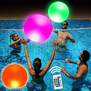 SUNSHINE-MALL LED Floating Pool Light Inflatable Ball with Remote Control, 16 RGB Colors Waterproof Outdoor Decor, Portable and Hangable, Night Light for Garden,Backyard,Party (Spherical 16inch)