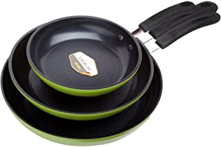 """Green Earth Frying Pan 3-Piece Set by Ozeri (8"""", 10"""", 12""""), with Textured Ceramic Non-Stick Coating from Germany (100% PTF..."""