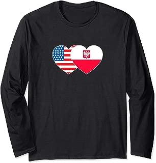 Poland & USA Flag Twin Heart for Polish Americans July 4th. Long Sleeve T-Shirt