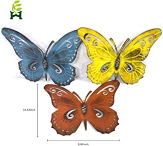 EH-GARDEN Colored Metal Butterfly Wall Art, Inspirational Wall Decor Sculpture for Indoor and Outdoor, 3 Pack