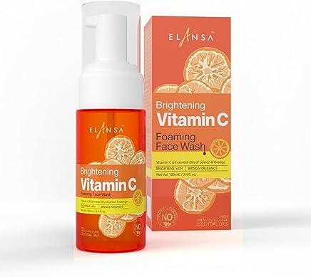 Elansa Brightening Vitamin C Foaming Face Wash with Therapeutic Grade Essential Oils, 100ml