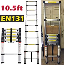 10.5 FT Aluminium Telescoping Ladder Extension Steps Anti-Slip Rubber Feet Lightweight Portable Heavy Duty 330lb Load Capacity